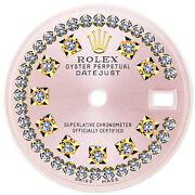 Refined Ladies 2-tone Datejust Pink Antique String Diamond Dial For Rolex-26