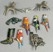 Antique Lot Of 10 Toy Jewelry Pins Bird Pistol Horse Saddle Wings Rare Set