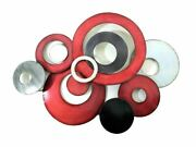Contemporary Metal Wall Art Dandeacutecor - Large Red And Grey/silver Abstract Discs 74cm