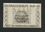 1948 Saar Air Mail French Protectorate Stamp Cb1a Souvenir Sheet Canceled