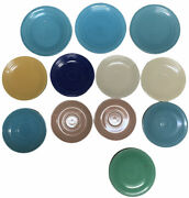 Lot Of 12 Vintage Hlc Fiestaware Retired Fiesta Plates Multi Colors Blue Yellow