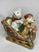 Fitz And Floyd Father Christmas Dog / Cat Salt And Pepper Shakers With Sleigh 1995