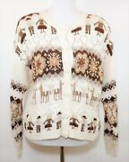 Vtg Heirloom Collectibles Women's M Beige And Brown Knit Sweater Cardigan Western