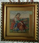 Antique 18.c Hand Embroidered Gobelin Lady Renaissance Pottery Picture Tapestry