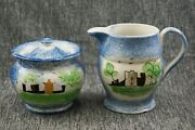 Spatterware Staffordshire Old Fort / Castle Pattern Sugar And Creamer - As Is