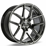 4ea 20 Staggered Ace Alloy Wheels Aff02 Black Chrome Rimss43