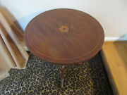 Antique Round Flip Top Table Tilt Top Marquetry Inlaid Top 3 Legs