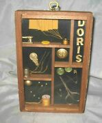 Sewing Shadowbox Collage Wooden Wall Display Vintage