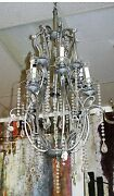 Vintage Neo Classical Swirling 8 Light Weathered Silver Multi Crystal Chandelier