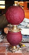 Collectable Vintage Gwtw Parlor Oil Lamp Blown Ruby Red Glass Electrified