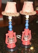 Vintage Red Winged Wheel No. 350 Lantern Globe Lamps With Funky Clip On Shades