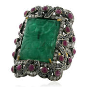 18k Gold Sterling Silver Carved Emerald Pave Ruby Diamond Cocktail Ring Jewelry