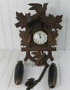 Vintage Cuckoo Clock Ingraham Face With Weights For Parts Or Repair