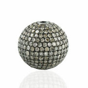 925 Sterling Silver 4.01ct Pave Diamond Spacer Bead Finding For Making Jewelry