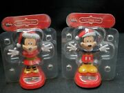 Solar Powered Dancing Santa Hat Mickey And Minnie Bundle 4.5 In Christmas
