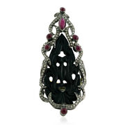 Carved Onyx Ruby Diamond 18k Gold Long Ring Sterling Silver Antique Jewelry Gift