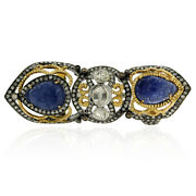 18k Gold 2.62ct Diamond Blue Sapphire Knuckle Ring 18k Gold 925 Silver Jewelry