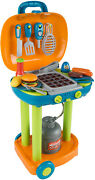 Bbq Grill Toy Set- Kids Dinner Playset With Realistic Sounds And Grate Lights-