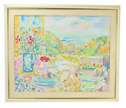 Kurt Polter Impressionist Oil Painting Cheerful Ocean View From Patio