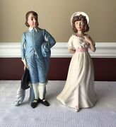 Pair Of Vintage Holland Ceramic Victorian Style Man And Lady Figurines, 12 T.