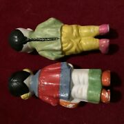 Antique Dolls Pair Porcelain Asian Boy And Girl Marked Japan Detailed Colorful