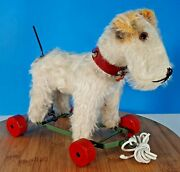 Vintage Chiltern Small Terrier Dog On Wheels Pull Along Toy Collectible Antique
