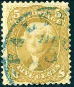 1861 5andcent Olive Yellow 67b Baltimore Town Postmark Fine Appear. Cat 4750 Cert