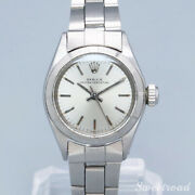 Rolex Oyster Perpetual Ref.6623 Engine Turned Bezel 1971 Ss Ladies Watch[b1105]