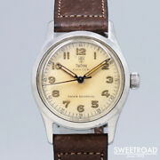 Tudor Oyster Shield Rose Ref.4453 Manual 1950s Leather Ss Menand039s Watch[b1105]
