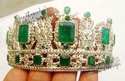Party Style Emerald Tiara Repro Sterling Silver Antique Rose Cut Diamond 16.32ct