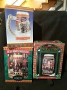 Budweiser Beer Clydesdale Steins Lot Of 3 Holiday Collectible 1990s Orig. Boxes