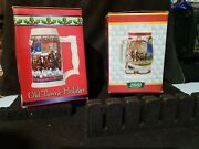 Lot Of 2 Budweiser Holiday Christmas And Clydesdale Beer Steins Mugs 2001-2003