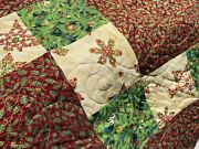 Merry Christmas Handmade Quilt Xl Throw Cotton 75' X 63' Blanket Twin Full Bed