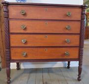 Untouched New Hampshire Federal Tiger Maple Chest Original Hardware And Surface