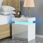 Rgb Led Nightstand With 2 Glossy Drawer Modern Bedside End Table Bedroom Dresser