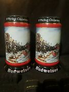 A Pair Of 1992 Budweiser Collector Series A Perfect Christmas Beer Steins