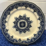 Antique Flow Blue Stoneware Ironstone Dinner Plate 10andrdquo Chips On Back