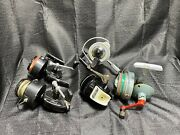 5 Vintage Fishing Reels,  Accu - Cast Fish Reel - U.s.a., Swiss And Other.