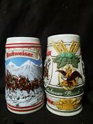 2 Budweiser Beer Steins 1983 Clydesdales Wheat Motif And 1985 A Series
