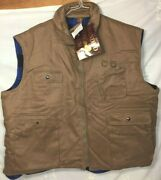 Branded Lion Padded Flannel Lined Utility Fishing Hunting Outdoor Vest 3xb Nwt