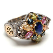 18k Gold 1.15ct Diamond Multi Sapphire Sterling Silver Antique Ring For Women