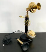 Retro Candlestick Phone Receiver Antique Home Table Top Gifts Rotary Telephone