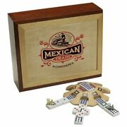 8-player Mexican Train Dominoes Board Game Wood Storage Box With Felt Lining New