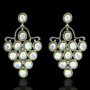 Blue Moonstone And Diamond 14k Gold Sterling Silver Dangle Earrings Jewelry