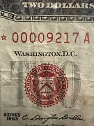 1963 2 Red Seal Star Note Super Low Serial Number 00009217 Xf! Super Rare!!