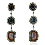 18k Gold Silver 2.6ct Pave Diamond Multicolor Unshaped Geode Earrings Gift