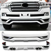 Pearl White Front Rear Bumper Lip Protector Kit For Land Cruiser Lc200 16-2020