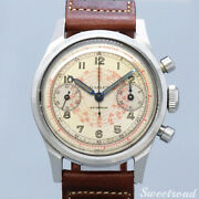 Gallet Valjoux 23 Manual Chronograph 1950s Leather Stainless Men's Watch[b1108]