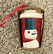 2012 Starbucks Holiday Ornament - Snowman Hot Cup