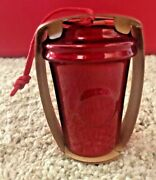 2014 Starbucks Holiday Ornament - All Red Metallic Hot Cup